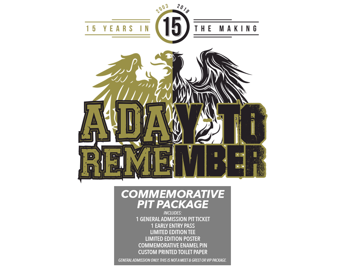 A Day To Remember Commemorative GA Pit Package 2018 Tickets
