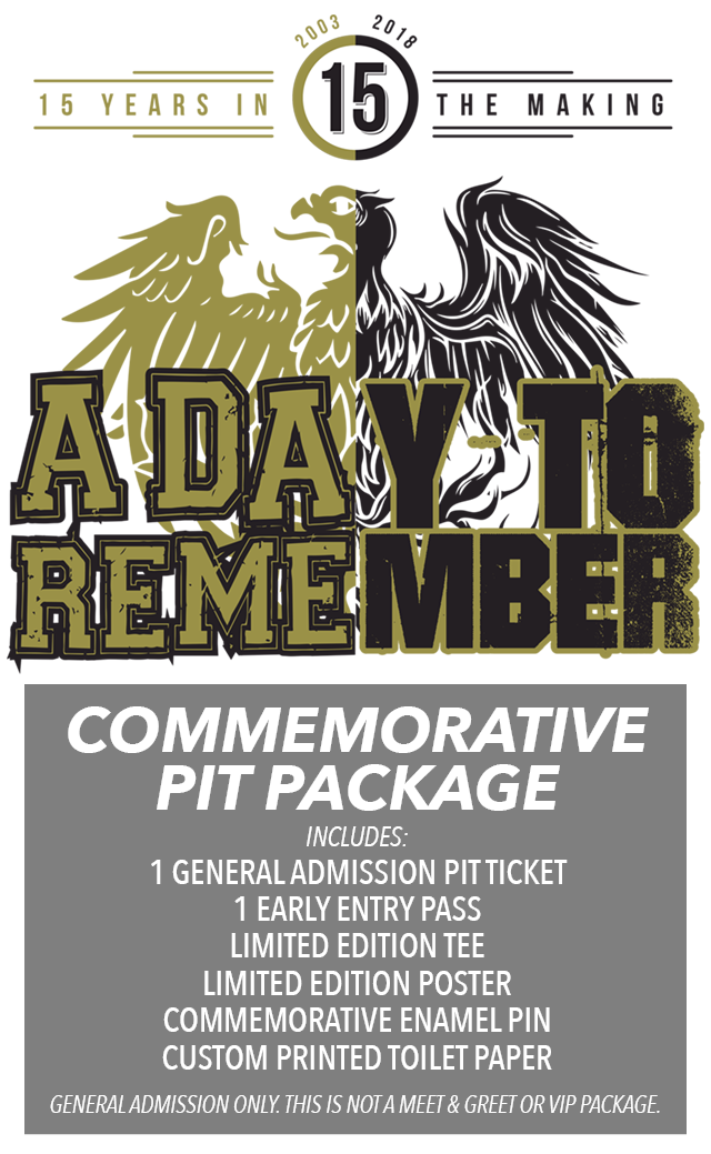 Ticketspin a day to remember commemorative ga pit package 2018 tickets m4hsunfo
