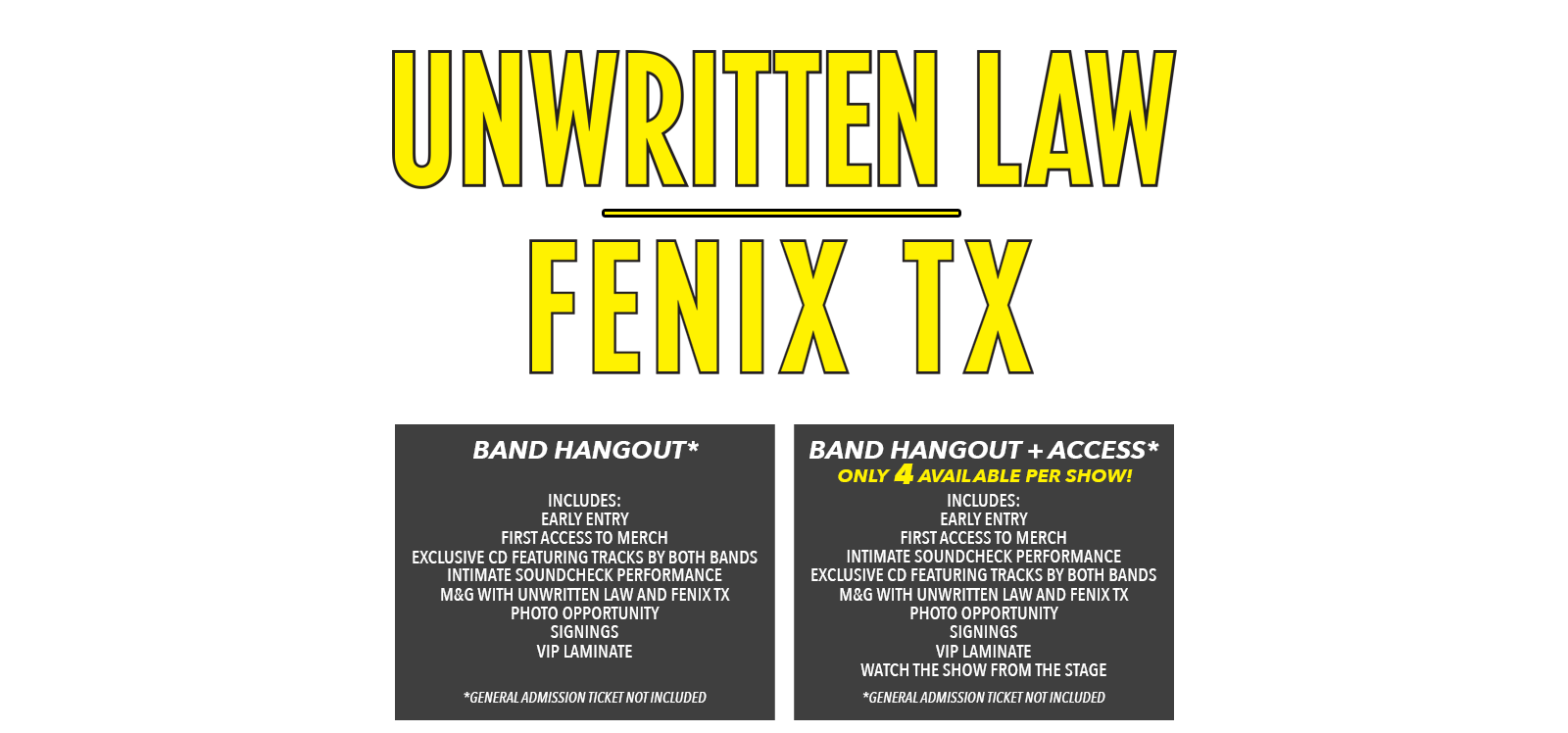 Unwritten Law Fenix TX Tickets