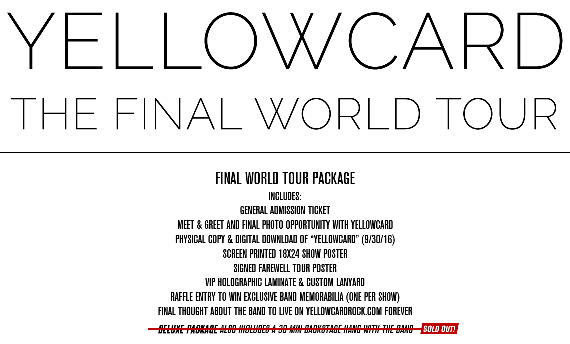Yellowcard The Final Tour Tickets